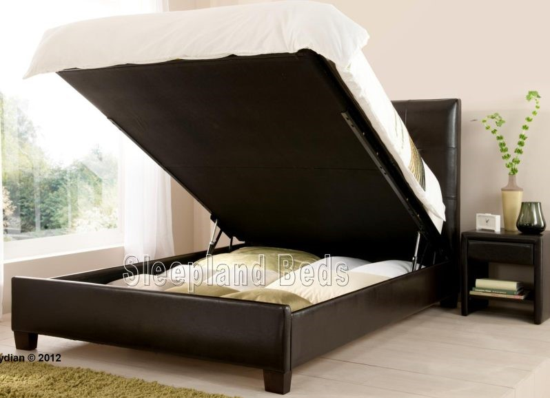 Kaydian Walkworth Ottoman Bed Brown Leather Storage Bed Double