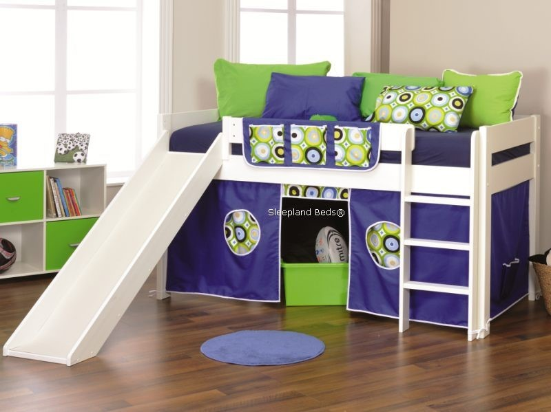 ... Cabin Bed With Slide Stompa Beds Play Three Blue Tent & Stompa Beds | Play 3 Slide And Tent Cabin Bed By Stompa - Lime or Blue