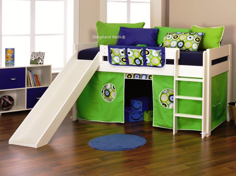 Stompa Play 3 Cabin Bed With Slide Lime Stompa Cabin Tent ... & Stompa Beds | Play 3 Slide And Tent Cabin Bed By Stompa - Lime or Blue