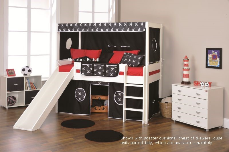 ... Tents Stompa Beds Play 5 Cabin Bed With Slide Pirates ... & Stompa Beds | Play 5 Cabin Bed With Slide And Two Black Pirate Tents