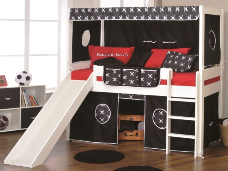 stompa play five bed with slide and black pirate tents