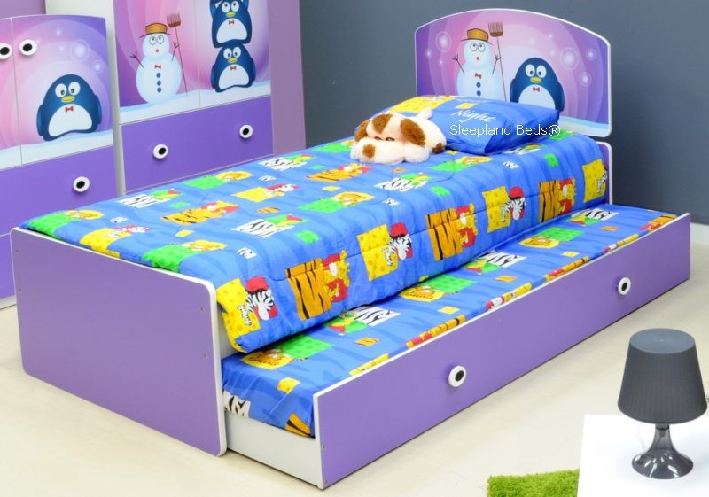Children\'s Beds | Lilac Penguin Kids Single Bed Frame And Trundle