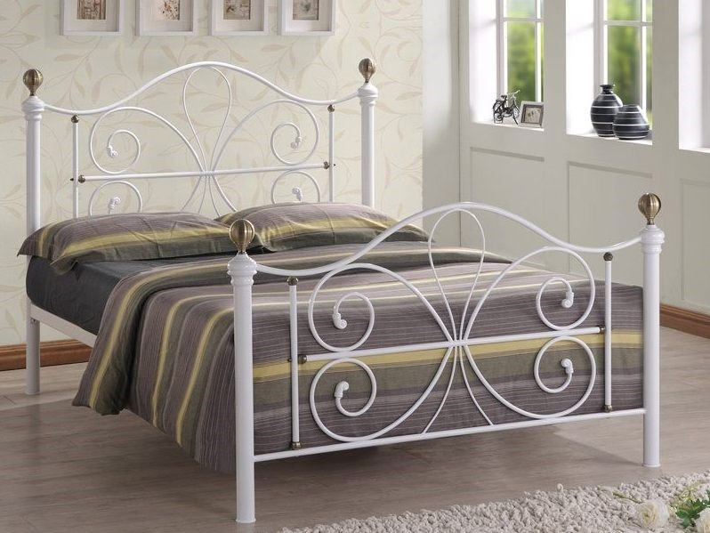 White Metal Bed Frame With Antique Brass 4ft 6 Double Camilla Bed