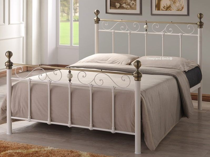 Cream Metal Bed Frame With Antique Brass 4ft 6 Double Omeros Bed