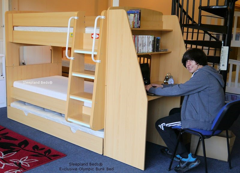 Olympic Bunk Beds With Trundle Bed And Workstation Desk Beech