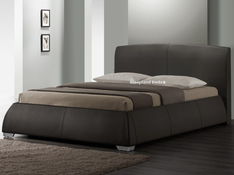 napoli luxury brown faux leather kingsize bedstead