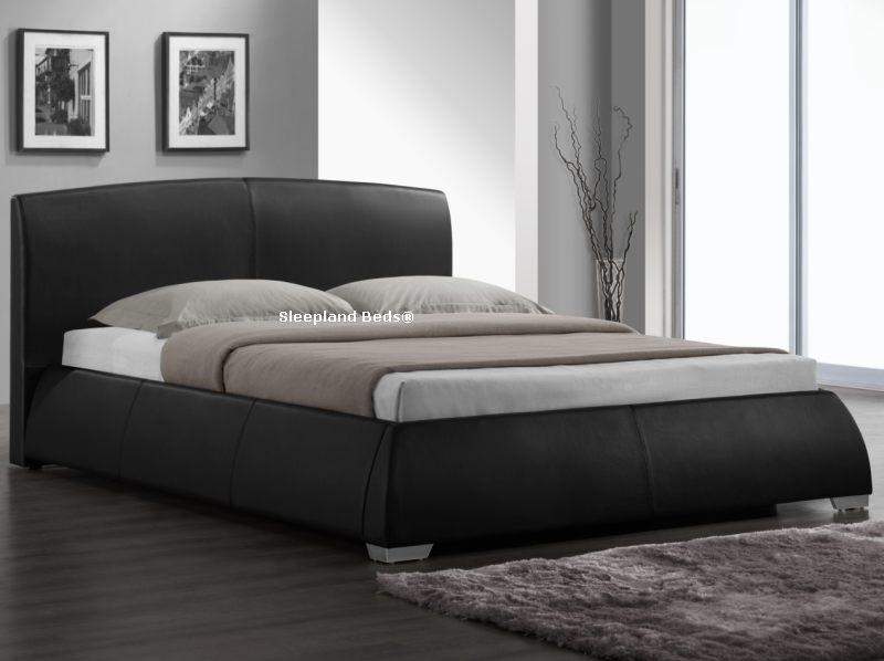 napoli luxury black faux leather kingsize bed frame