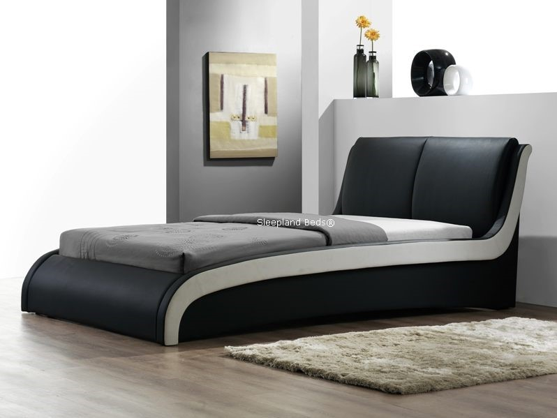 Superb Double Bed Sale Uk Part - 10: San Marino Black Faux Leather Double Bed Frame ...