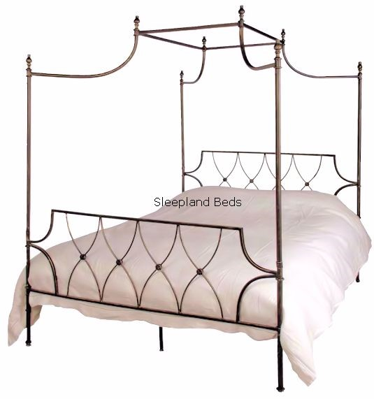 Black Four Poster Bed With Canopy 5ft Kingsize Black Metal 4 Poster