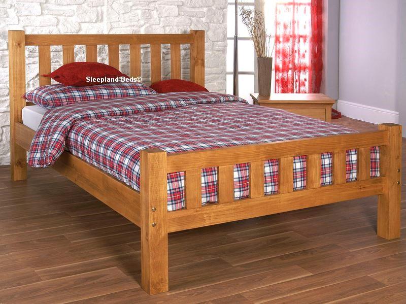 Austin Single Pine Wooden Bed Frame Optional Mattress Sleepland Beds