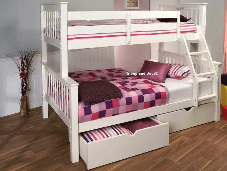 Signature Pavo White Wooden Double Bunk Bed Single And 4ft Double