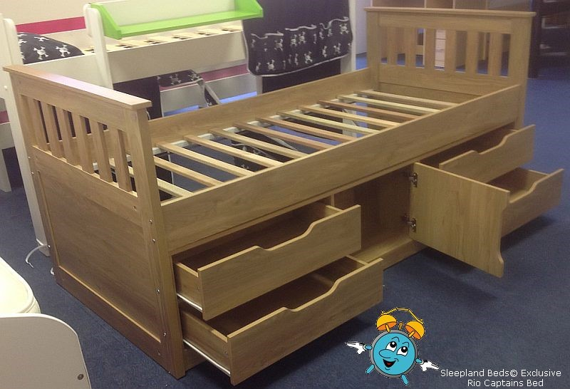 Single Bed With Storage Part - 40: ... Captains Siingle Wooden Bed With Storage Underneath