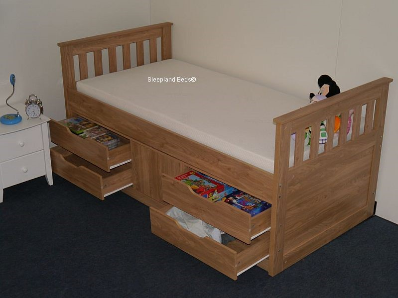 Single Bed With Storage Part - 39: Sleepland Oak Rio Captains Bed With Storage Underneath