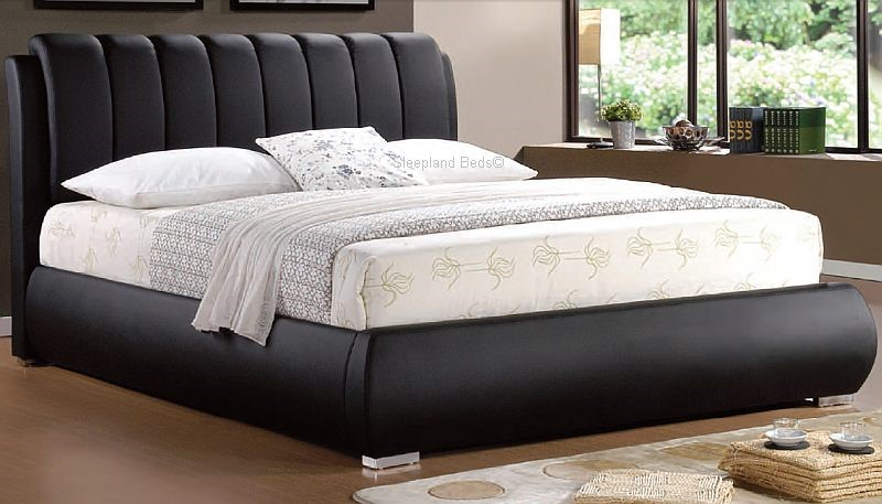 Grace Black Deep Padded Faux Leather Bed Frame 4ft6 Double