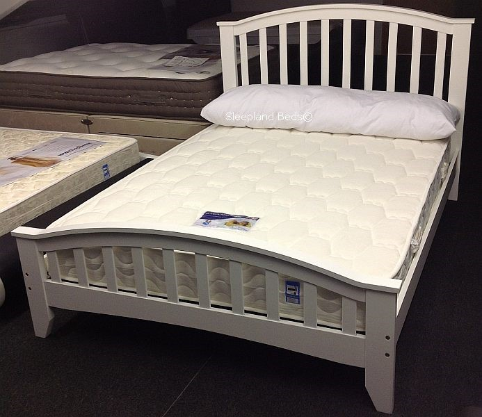 finest selection b66a0 31f7a White Wooden Bed Frame - Sleepland Knightsbridge - 4ft Small ...