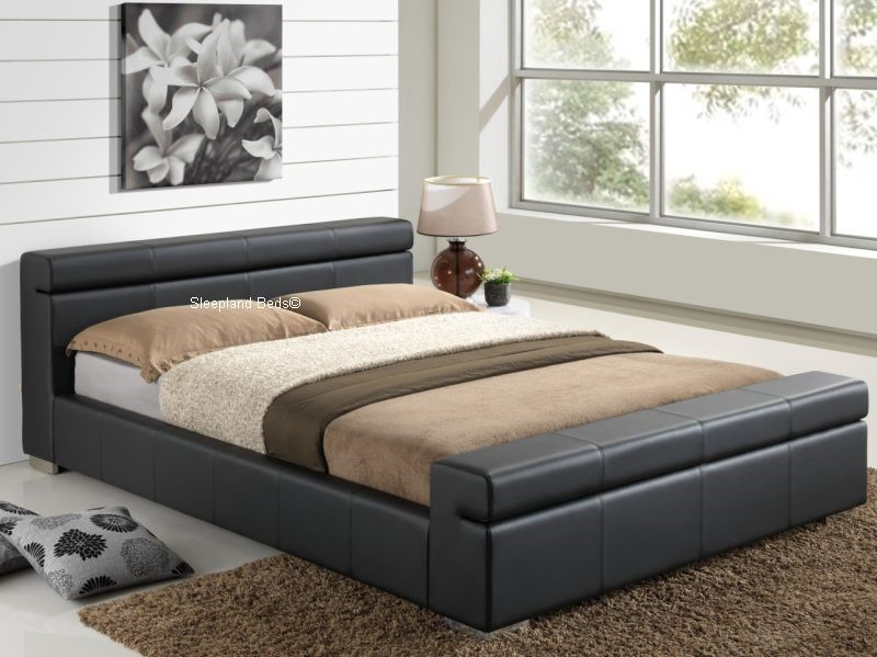 Durham Contemporary Black Faux Leather Bed Frame - 5ft Kingsize