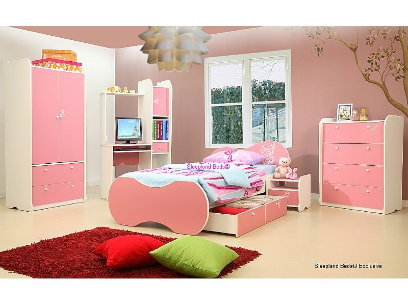 Pink Vanessa Girls Bed With Storage Drawer And Bedroom Furniture Set