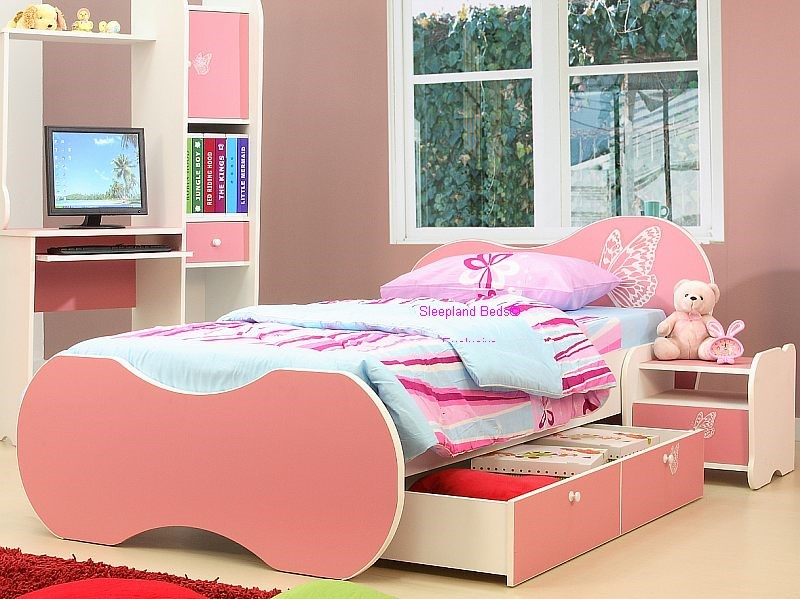 Pink Girls Desk And Storage Pink Butterfly Girls Bed And Bedroom Furniture  Desk And Wardrobe ...