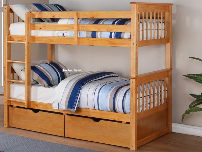 Thomas Deluxe Pine Wooden Bunk Beds In Light Oak