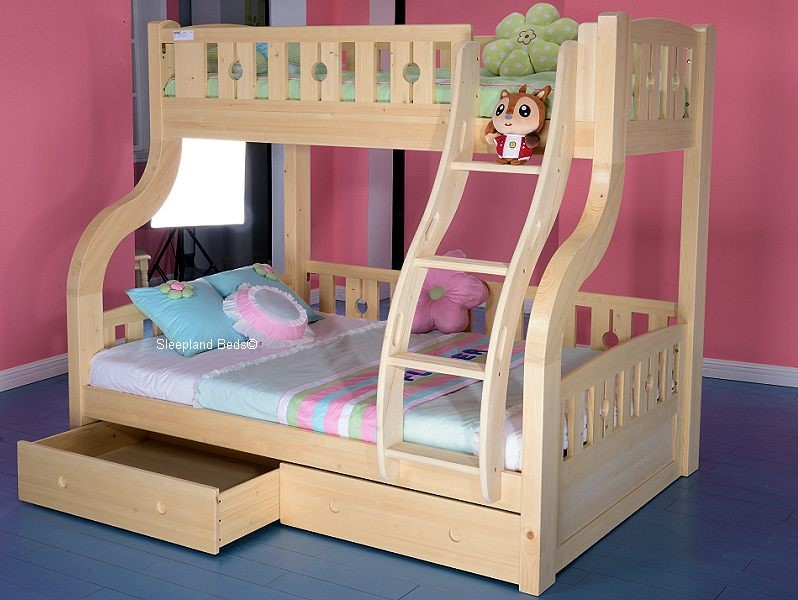 Double Bunk Beds Triple Sleeper Bed Bunk Bed Double Bed In White
