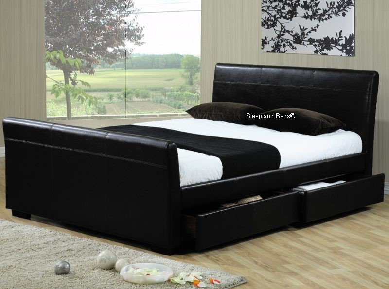 Houston Black Faux Leather 4 Storage Drawer Bed Frame - 4ft6 Double