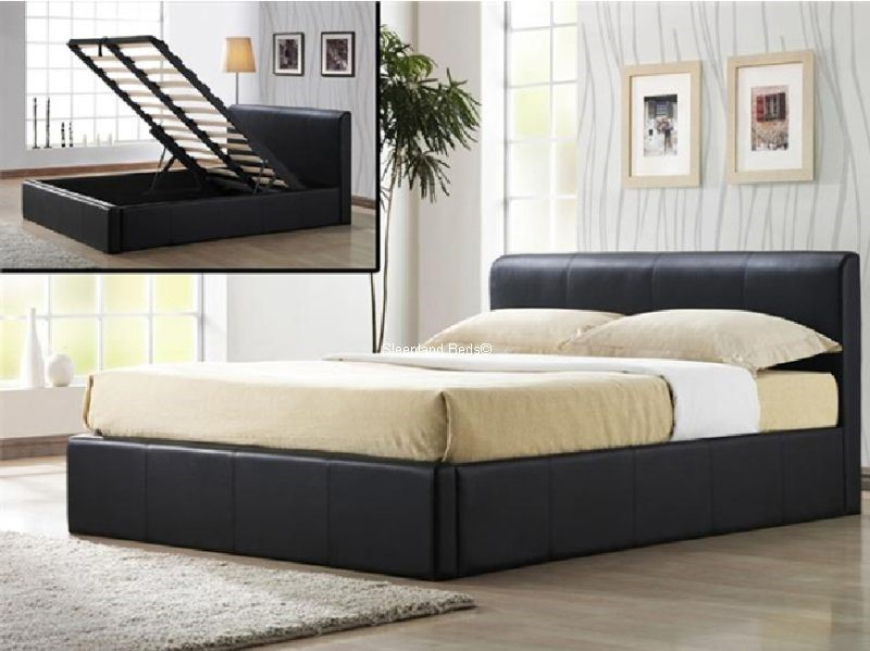 Brown Faux Leather Ottoman Storage Bed ...