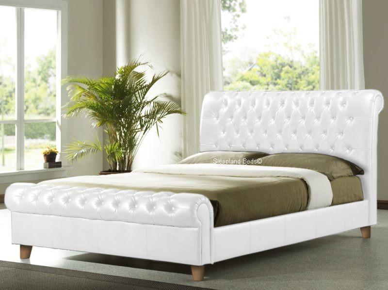 Richmond White Chesterfield Sleigh Bed Frame - 6ft Super Kingsize