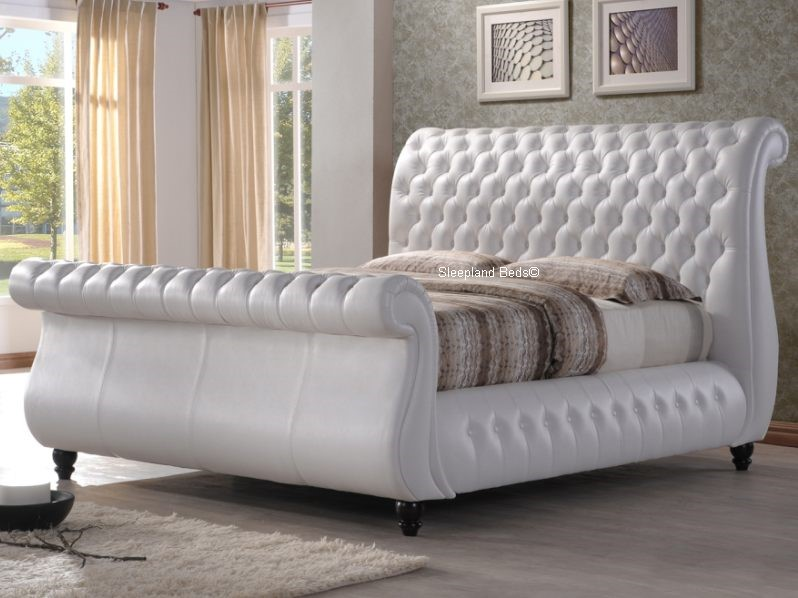 Swan White Leather Chesterfield Sleigh Bed Frame 5ft Kingsize