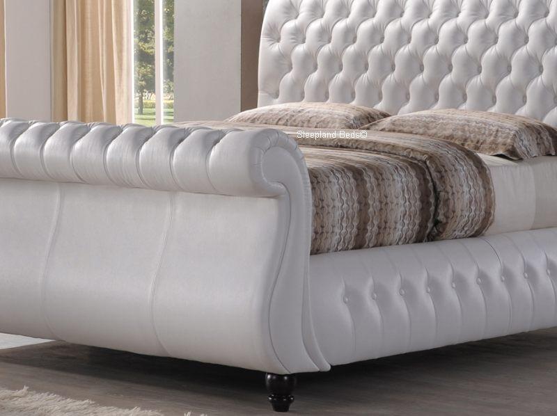Swan White Leather Chesterfield Sleigh Bed Frame - 5ft Kingsize
