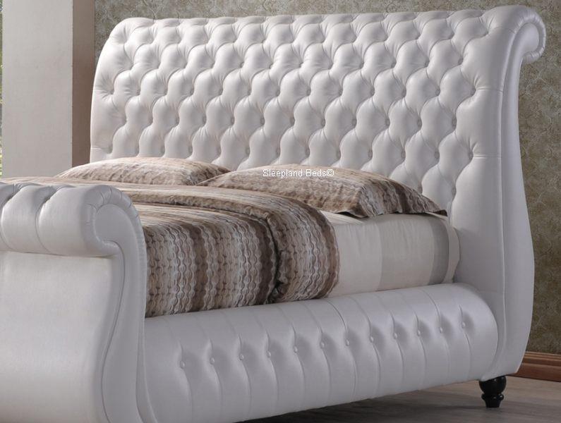 Swan White Leather Chesterfield Sleigh Bed Frame