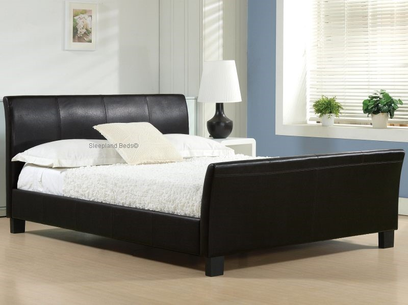 Winchester Sleigh Bed Frame In Black Faux Leather 5ft Kingsize