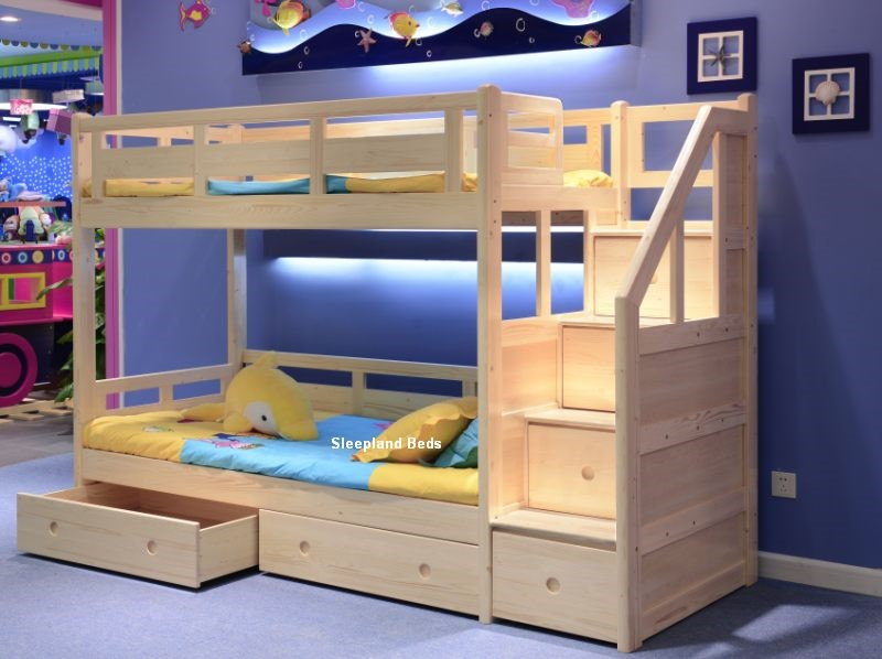 Luxury Solid Wood Pine Staircase Bunk Beds