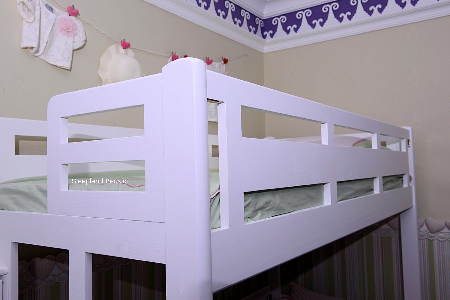 White Solid Wood Staircase Bunk Bed