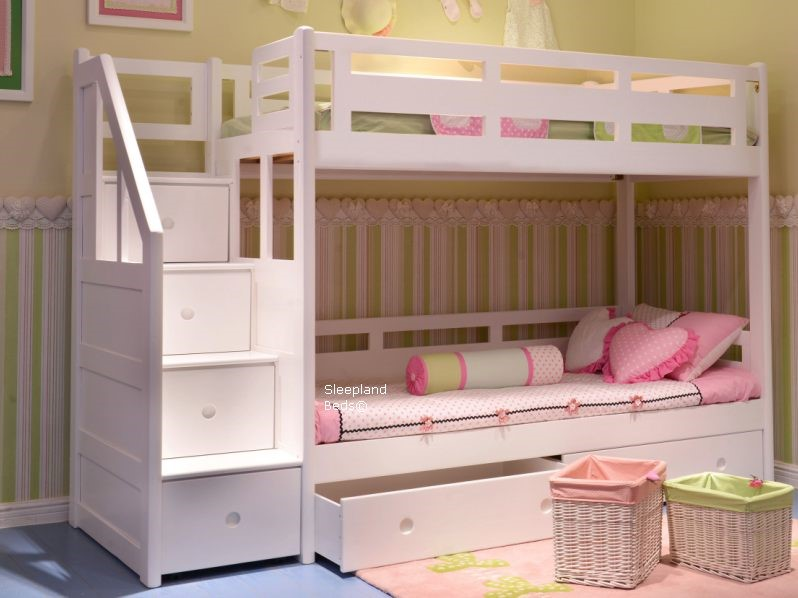 Luxury White Bunk Bed with Stairs
