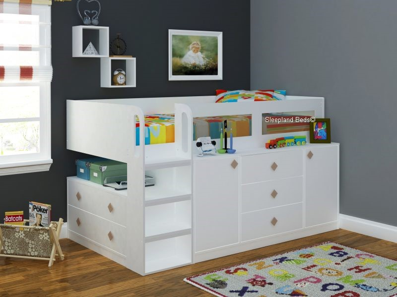 beds slp paddington happy co single cm amazon uk cabin x oak and children storage with bed wooden kids white frame drawers
