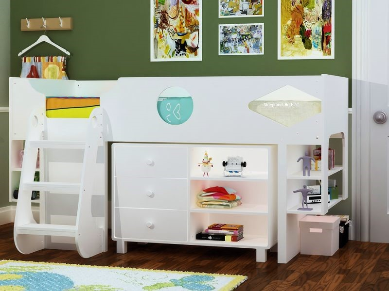 Ollie Modern White Mid Sleeper With Floating Style Shelves And Drawers Classy Railway Sleeper Floating Shelves