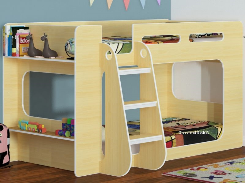 Shorty Bunk Beds In Beech With Shelf Shorter Height Childrens Bunks
