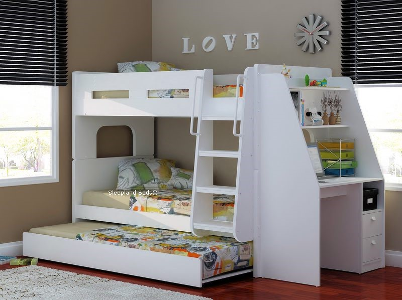 wood bunk bed with desk. Bunk Beds With Desk And Trundle White Wooden Wood Bed