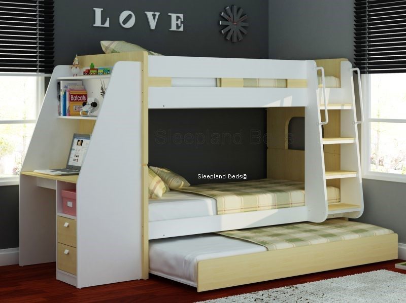 Bunk Beds With Desk Wooden Olympic By Sleepland Beds
