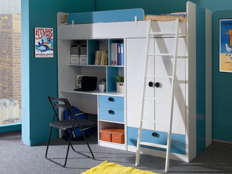 Oxford High Sleeper Bed In Blue And White ... & High Sleeper Bunk With Wardrobe And Desk - Blue And White Oxford Bed