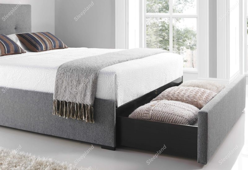 Kaydian Grey Hexham Bed Frame With Footend End Drawer - 5ft Kingsize