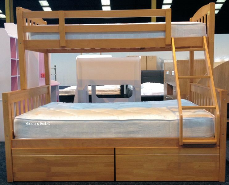 Cola Wooden Three Sleeper Bunk Bed In Antique Pine With Drawers