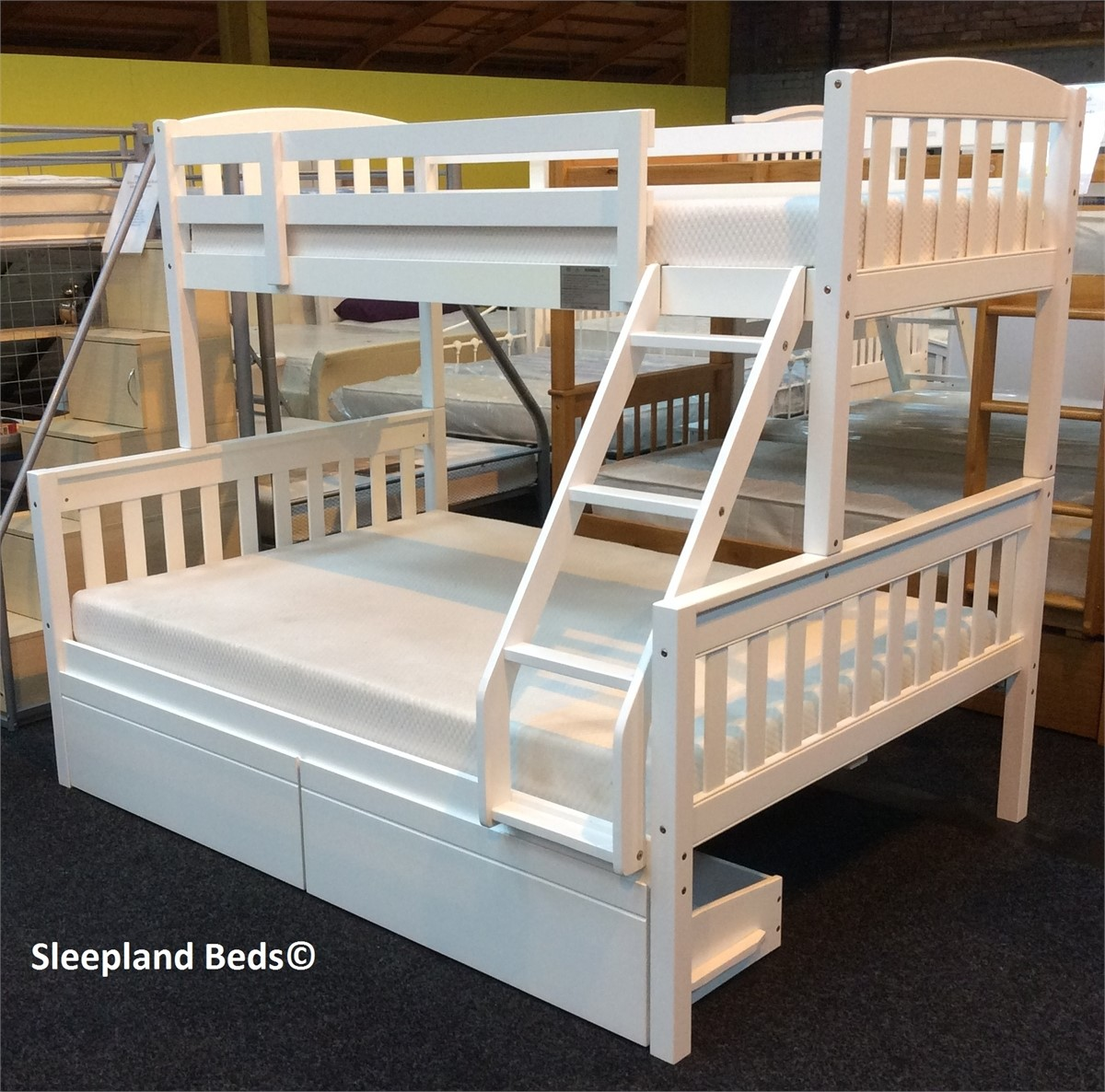 Cola White Wooden Triple Sleeper Bunk Bed With Two Storage Drawers