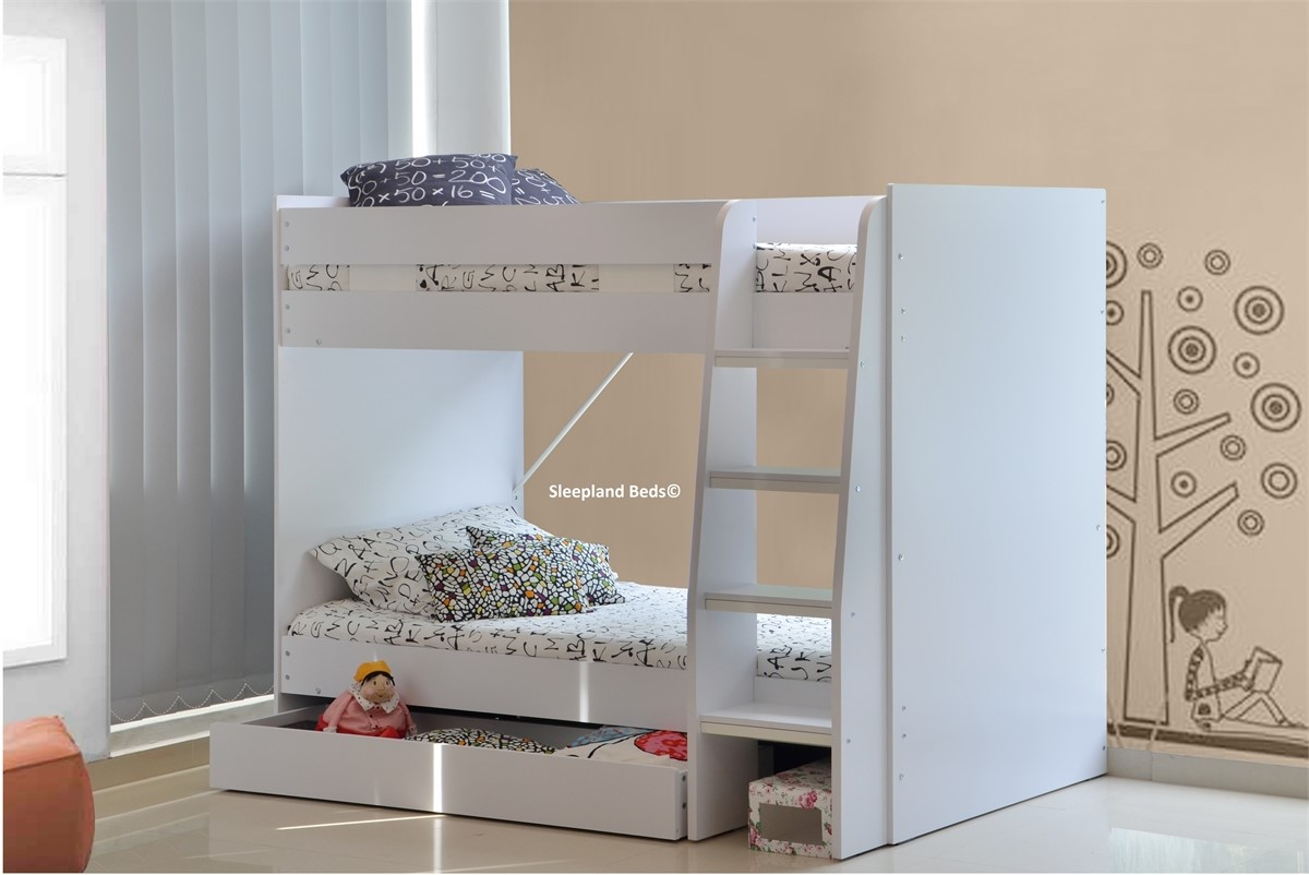 2ft 6 Small Single White Royal Bunk Beds With Large Storage Drawer