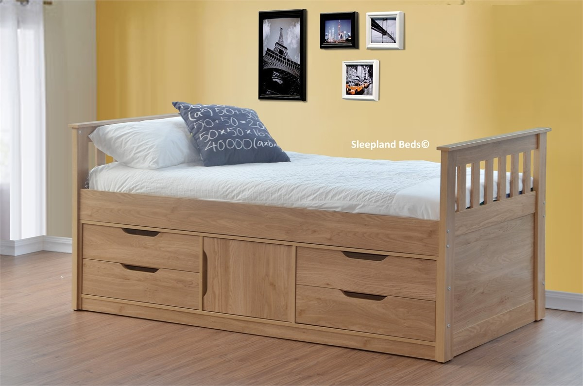 Sleepland Oak Rio Captains Bed With Storage Underneath ...