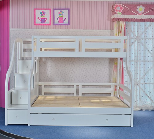 Luxury Carved Solid Wood White Triple Bunk Bed With Guest Bed Double