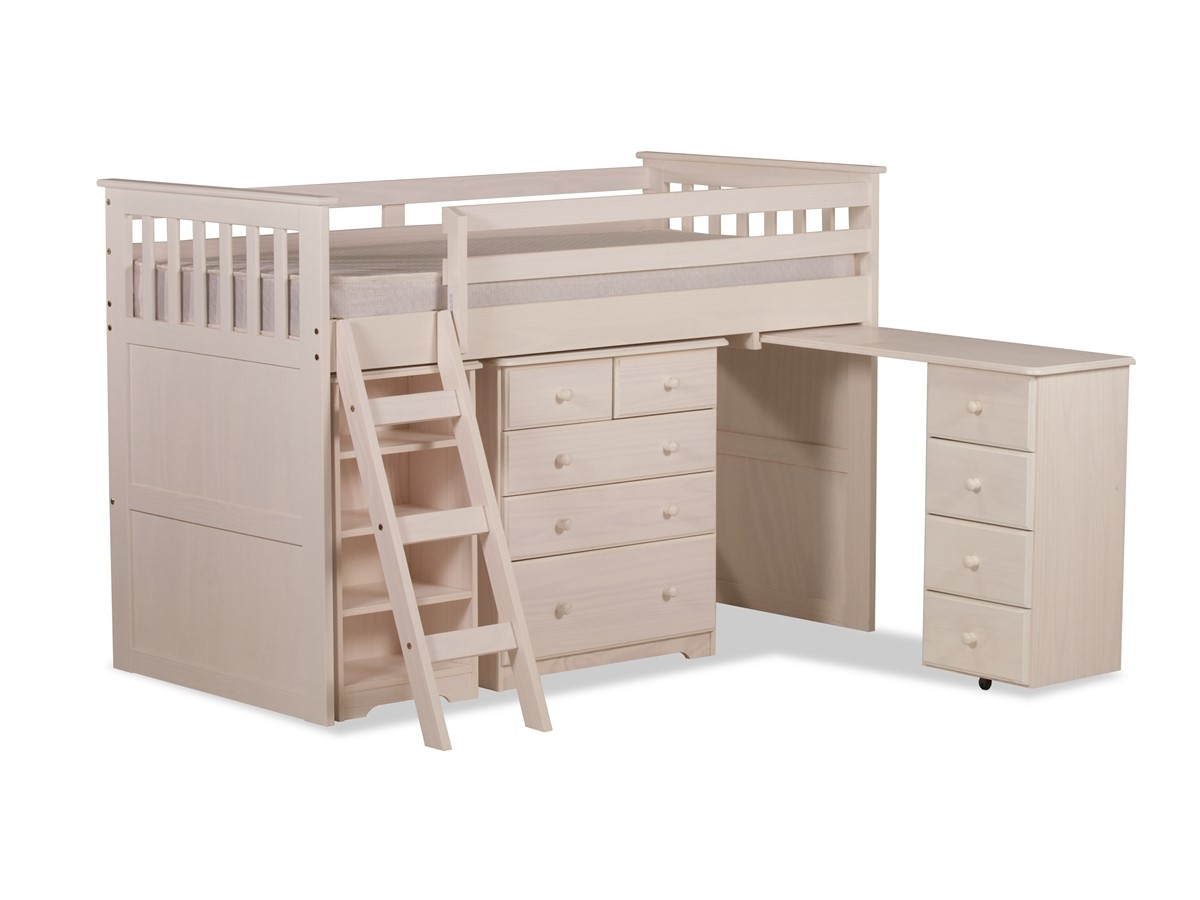 White Mid Sleeper Bed With Storage And Desk White Pine