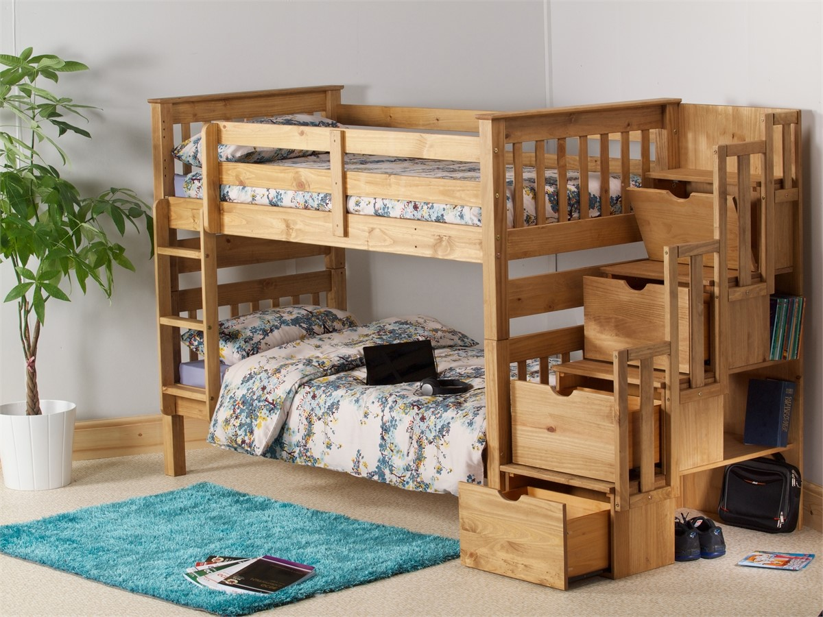 Amani Pine Bunk Bed With Staircase Storage