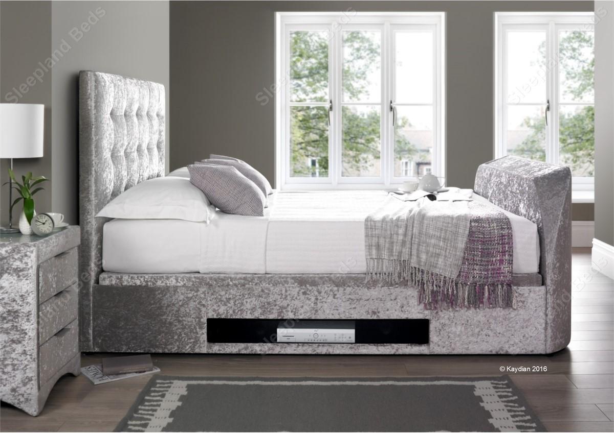 Kaydian Barnard Crushed Silver Velvet Ottoman TV Bed - 6ft Super ...