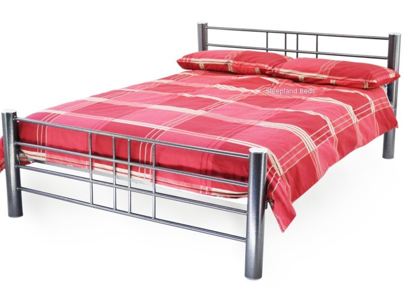Cuba Metal Bed Frame   3ft Single Metal Bed In Hammered Silver